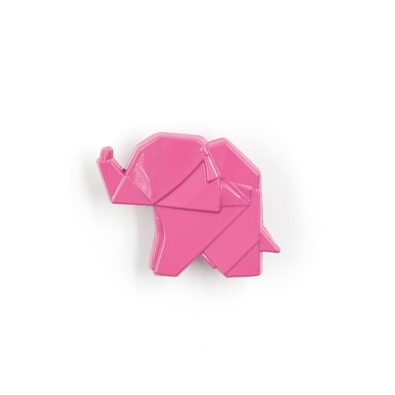 3d Origami Elephant Enamel Lapel Pin Trunk Up Chinese Symbol Etsy