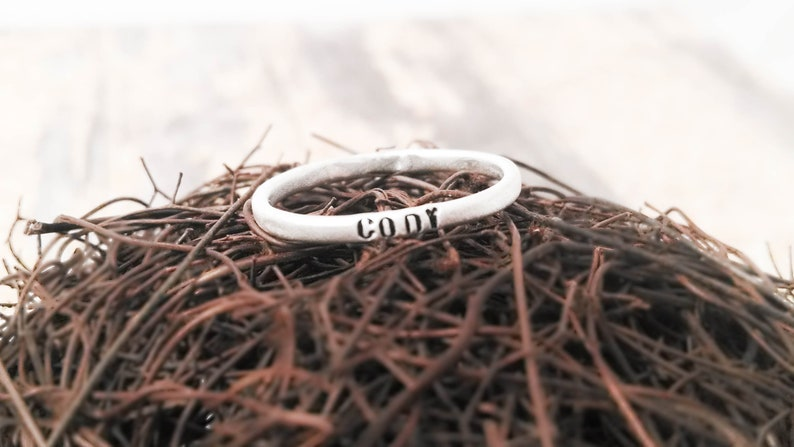 Personalized Rings Set of Three Stacking Rings Super Skinny Rings Thin Rings Dainty Rings Custom Rings Purity Rings Personalized Ring