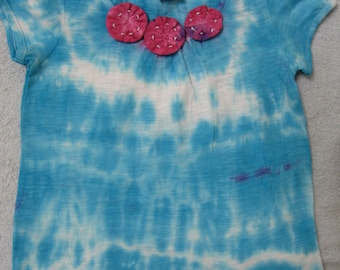 Tie Dye Toddler Size 3 Girls T-shirt Top 100% Cotton Turquoise TDC022