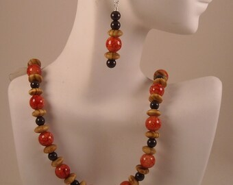 Afrocentric Beaded Necklace Dangle Earrings Beaded Necklace Set