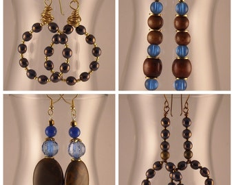 Afrocentric Beaded Dangle Earrings Beaded Hoops