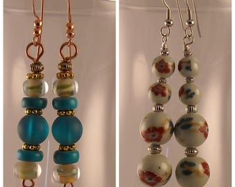 Sea Glass Beads Chinese Flower Glass Beads Beaded Dangles Beaded Earrings Drop Earrings Chinese Flower Beads Earrings