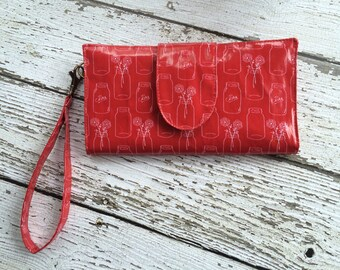 Red Mason Jars Clutch Wallet with wristlet strap