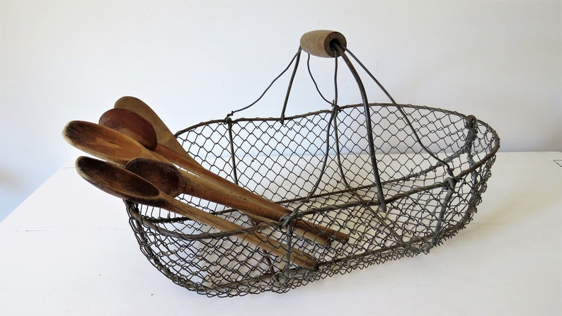 Vintage French Oyster Basket French Wire Basket Collecting image 0