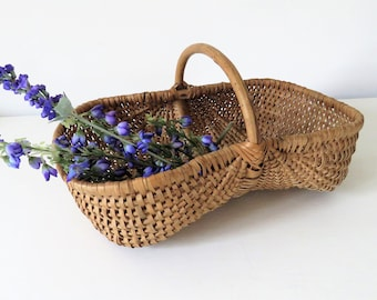 Vintage French Wicker Buttocks Basket, Vintage French Gathering Basket, Small Buttocks Basket