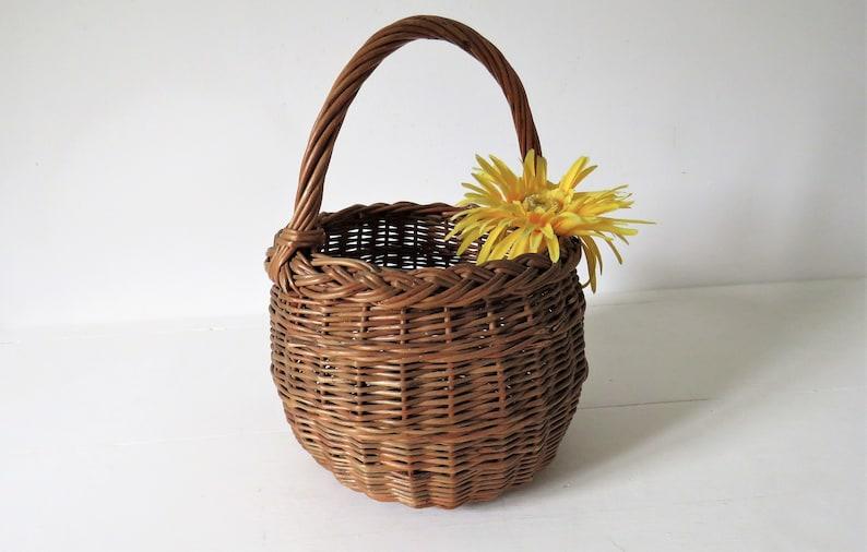Vintage French Basket Wicker Basket Market Basket Small image 0