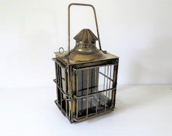 Antique French Neptune Brass Ships Lantern, Nautical Lantern, Brass Marine Lantern, Antique Nautical Lantern