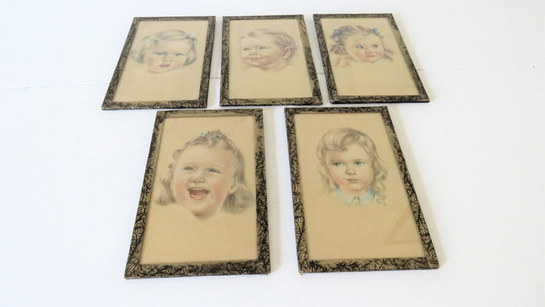Antique French Framed Pictures Of Children image 0