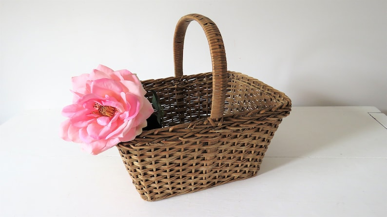 Vintage French Small Wicker Basket French Basket Flower Girl image 0
