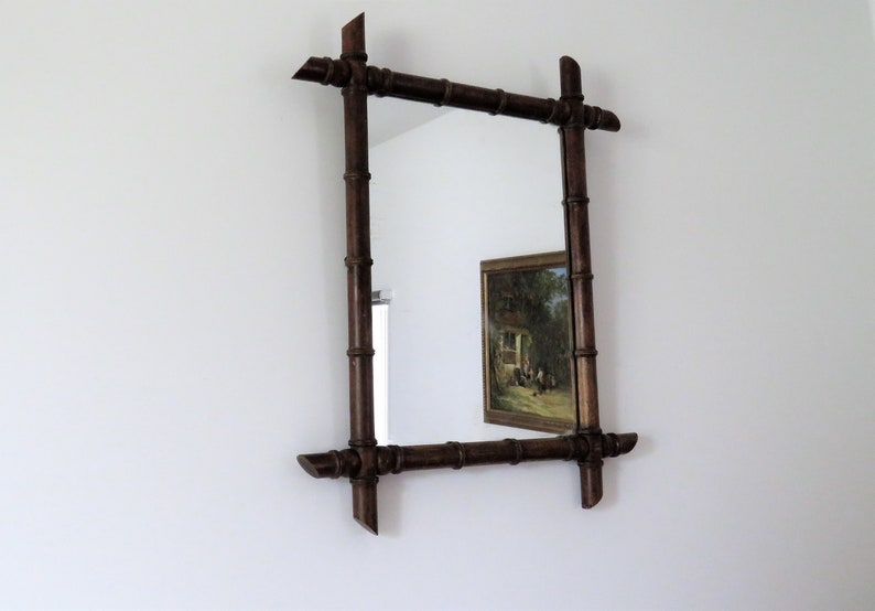 Antique French Faux Bamboo Mirror Antique Mirror image 0