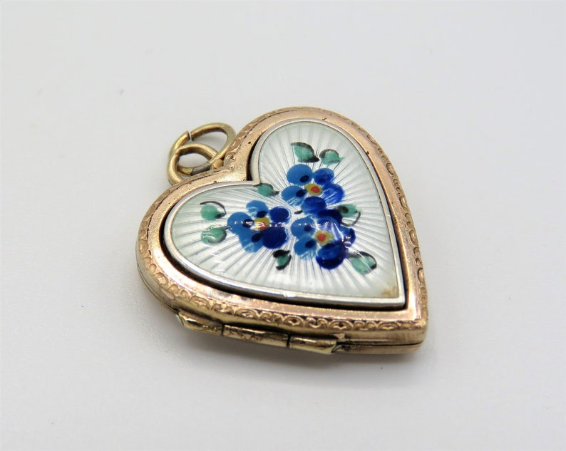 Vintage French Heart Shaped Guilloche Locket Art Deco Locket image 0