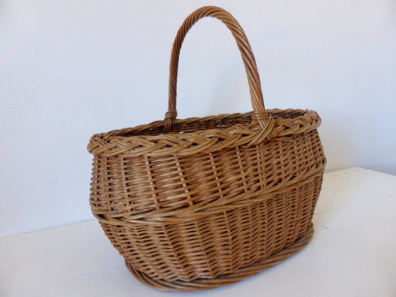 Vintage French Basket Large Market Basket Gathering Basket image 0