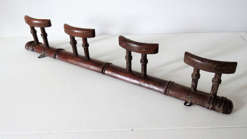 Vintage French Four Peg Coat Hat Rack Faux Bamboo French Hat image 0
