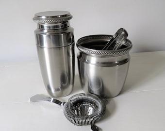 Vintage Alessi Steel Cocktail Set, Vintage Alessi Cocktail Shaker, Alessi Barware