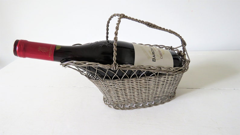 Vintage French Wine Pouring Basket Wine Basket Lambic image 0
