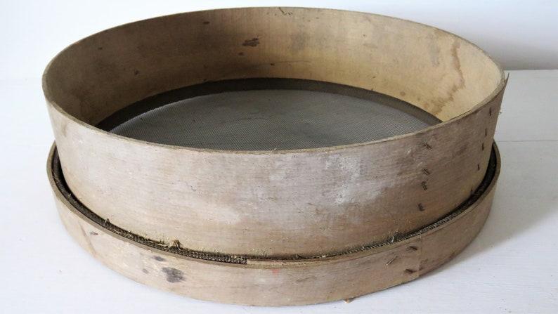 Vintage French Wooden Flour Sieve Vintage Wooden Sieve image 0