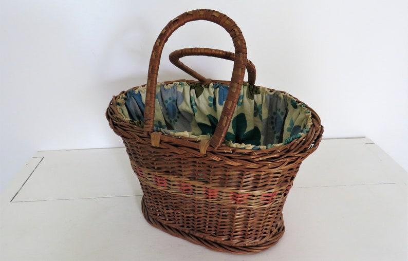 Vintage French Basket French Lined Basket Vintage Wicker image 0
