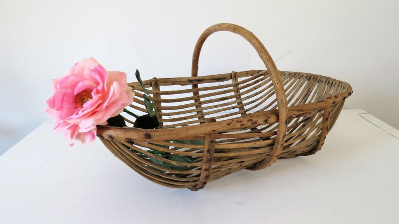 Vintage French Wooden Collecting Oyster Basket image 0