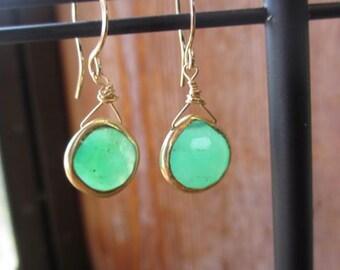24 carat gold-wrapped green quartz earrings 22036
