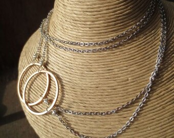 Bright and sassy Melissa necklace with rose gold, gold and rhodium circles and chain option necklace 34011