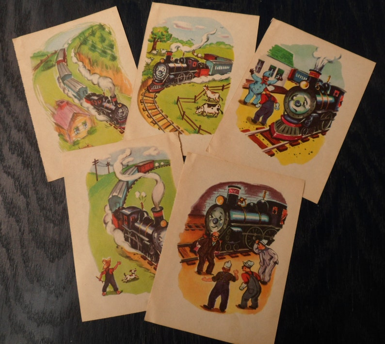 Nursery Decor Framable Train Engine Railroad Pictures 1950 Vintage Ephemera Junk Journal Benjie Engie Story Book- 5 Illustrated pages