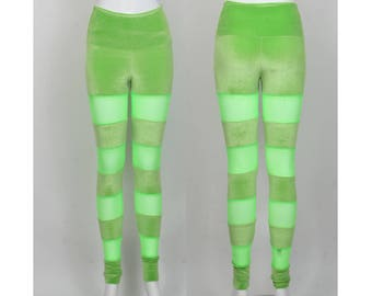 SALE Size XS Lime Velvet Leggings