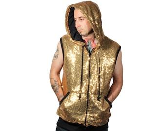 Gold Sequin Hoodie Vest
