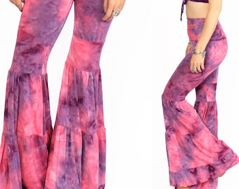 Pink Purple Tie Dye Flow Pants