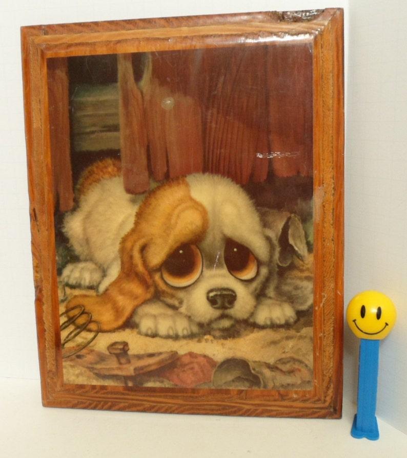 Vintage Big Eye Puppy, Big Eyed Puppy, Decoupage Wood Plaque, Retro 1960s,  Big Eyes Dog Picture, Gigi Big Eye Print, 60s 70s Kids Room Decor
