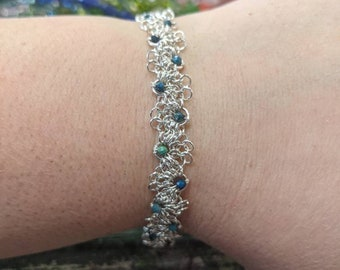 Silver Adapted European 4-in-1 Bracelet with Chrysocolla Bead Accents