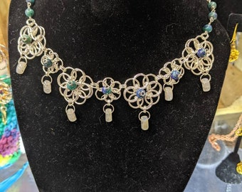 Flower Chainmaille Necklace with Chrysocolla and Moonstone