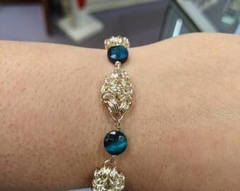 Silver Romanov Byzantine Weave Bracelet with Blue Tiger Eye