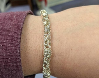 Silver Adapted Byzantine Chainmaille Bracelet