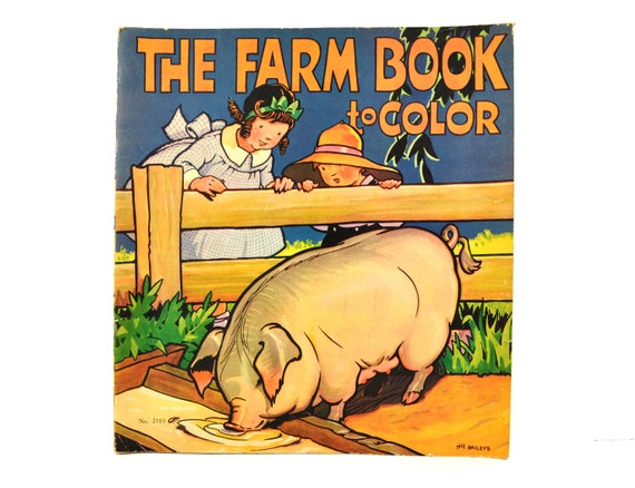 Vintage Oversized Coloring Book 1934 Saalfield The Farm Book | Etsy