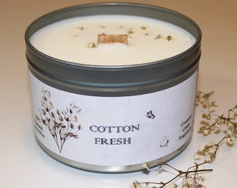 Wood Wick Soy Wax Tin Candle Cotton Fresh