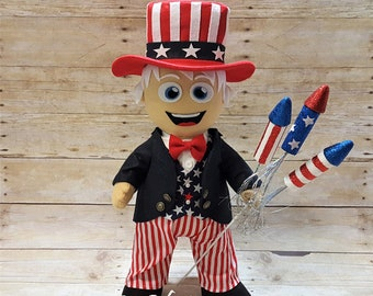 Plush Uncle Sam Doll- READY TO SHIP!