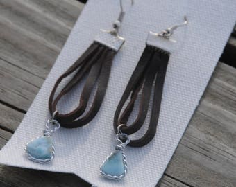 Dominican Larimar Earrings with Brown Leather