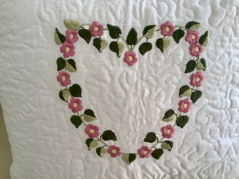 No insert included Embroidered Floral Heart 12\u201d Square Pillow Cover White Cotton Fabric