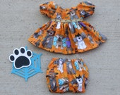 Handmade 14 - 16 Inch Baby Doll Clothes quot Halloween Dog Parade quot Orange Brown Halloween Dogs Print Dress Set with Panties