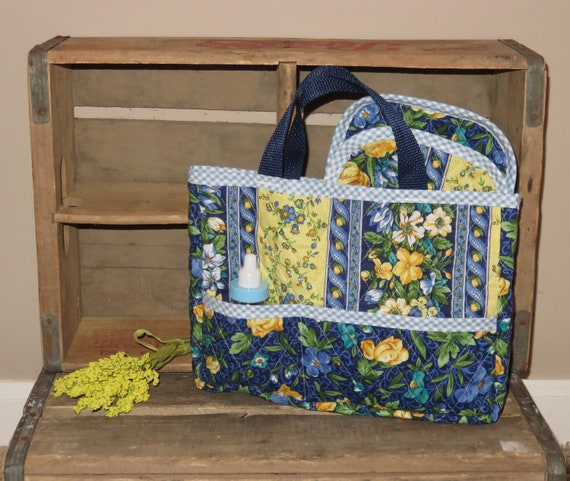 Handmade Quilted Doll Diaper Bag Tote AG ~ Bitty Baby Pink Floral