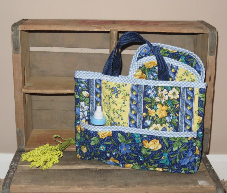 Green /& Yellow Flowers Print ~ American Girl ~ Bitty Baby ~ Baby Dolls Handmade Quilted Doll Diaper Tote Bag Set w Burp Cloth ~ Blue