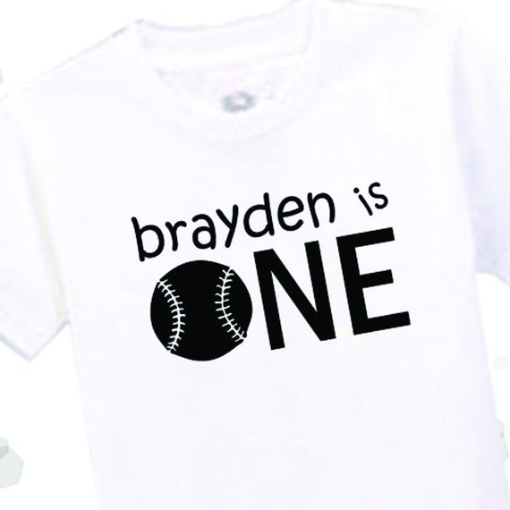 First Birthday Shirt Boy Personalized Name Baseball T