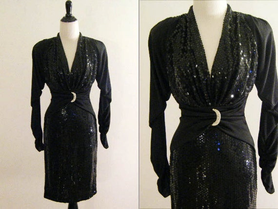 1980's Black Sequined Party Dress by Climax for Da