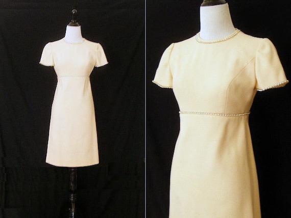 1960's Ivory Dress with Rhinestones by Estevez for
