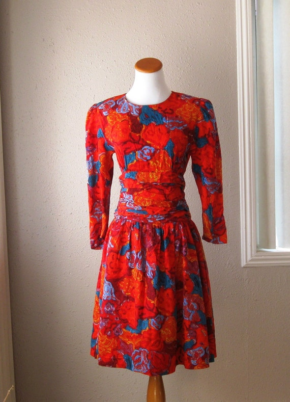 Vintage 1980's Silk Floral Dress - Size 6