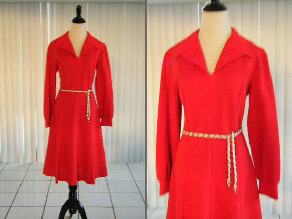 Vintage 1970's Red Polyester Knit Dress