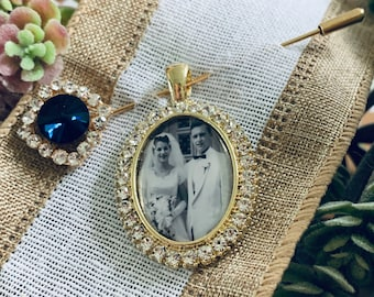 Something Blue Wedding Photo charms Custom Made or DIY Bouquet memory Charms for Family photos and Initials (Includes everything you need)