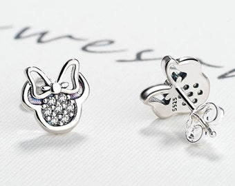 64e9091ee665 Silver Disney Minnie Mouse Rhinestone and Silver Earrings - Minimal jewelry  Perfect Vacation gift for mother and daughter FREE US Shipping