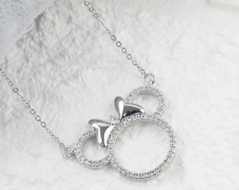 EoCot Silver Plated Heart of Ocean Crystal Love Necklace for Women Girls Lover Best Gifts