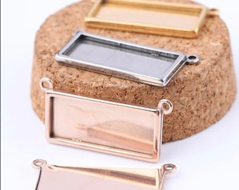 Stainless Steel Rectangle horizontal necklace connector - Pendant base 25mm x 10mm blank Settings -  DIY Jewelry Making